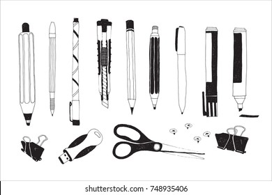 Hand drawn stationery and art supplies set. Vector doodle illustration. Set of school accessories and tools. Pen, Pencil, Marker, Cutter, Push Pin, Scissors, USB Flash Card, Binder Paper Clip.
