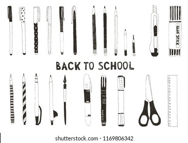 Hand drawn stationery set. Vector doodle illustration. Set of school or office accessories and supplies.