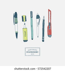 Hand drawn stationery set. Vector color illustration. Set of school accessories and supplies. Doodle tools composition. Pencil, Pen, Stylus, Marker, Highlighter, Cutter.