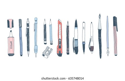 Hand drawn stationery set. Vector doodle illustration. Set of school accessories and supplies. Tools composition. Pencil, Pen, Marker, Brush, Stylus, Highlighter, Cutter, Sharpener.