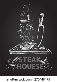 Hand drawn steak house quotes illustration on black chalkboard