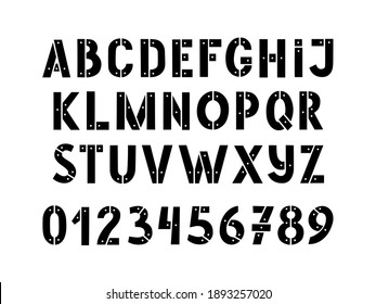 Hand drawn stencil alphabet and numbers with rivets metal isolated on white background. Army stencil lettering. Stamp stencil-plate letters for print design.