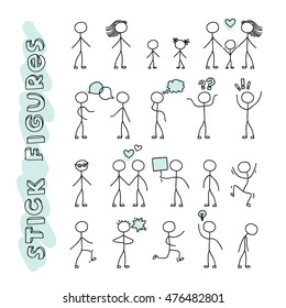 Hand drawn stick figures on white background. Modern hand drawn vector illustration. Layered EPS file