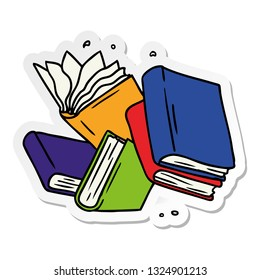 hand drawn sticker cartoon doodle of a collection of books