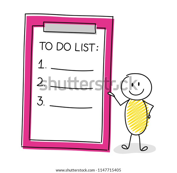 Hand drawn  stickman showing clipboard with empty to do list. Vector.