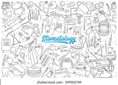 Hand drawn stomatology doodle set background with blue lettering in vector