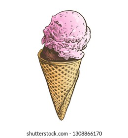 Hand drawn strawberry ice cream in cone sketch, pen and ink vintage etching illustration. Colorful engraving, isolated on white background.