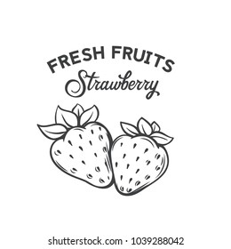 Hand drawn strawberry icon. Vector badge fruit in the old ink style for brochures, banner, restaurant menu and market