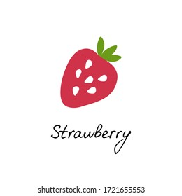 Hand drawn strawberry logo for print and web. Berry icon and strawberry inscription. Vector illustration.