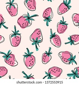 Hand drawn strawberry  seamless vector pattern. Pink strawberries and green leaves with black doodle stroke on vanilla background