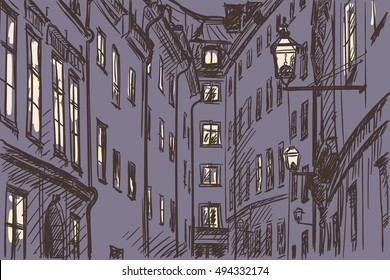 Hand drawn Street in night Old town Gamla Stan in Stockholm Vector sketch