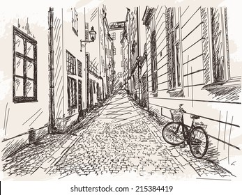 Hand drawn Street Old town Gamla Stan in Stockholm sketch Vector illustration