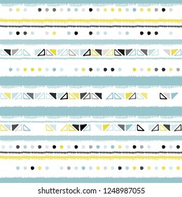 Hand drawn stripe seamless with simple Scandinavian ornament. Nursery geometric vector pattern. Design concept for Christmas, kids textile print, wallpaper, wrapping paper.