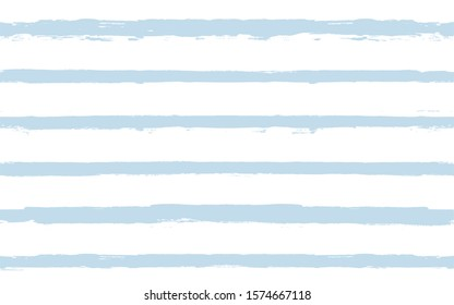 Hand drawn striped pattern, delicate blue navy stripe seamless background, childish pastel brush strokes. vector grunge stripes, cute baby paintbrush line backdrop