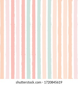 Hand drawn striped pattern, delicate nude pink stripe seamless background, pastel brush strokes. vector grunge stripes, watercolor line backdrop