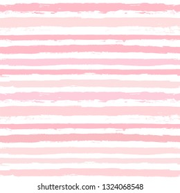 Hand drawn striped pattern, pink girly stripe seamless background, for wrapping, wallpaper, textile. paint ink brush strokes. vector grunge stripes, cute baby paintbrush line backdrop