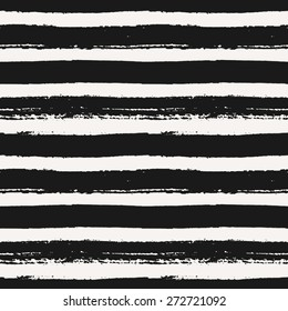 Hand drawn striped seamless pattern. Monochrome horizontal dry brush strokes texture.