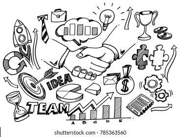Hand drawn Strong Business Partnership concept wih Doodle design style