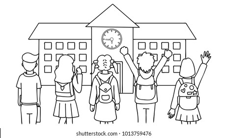 Hand drawn students standing in front of school house,back to school,for design element and coloring book page for kids.