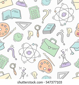 Hand Drawn Study seamless pattern with school accessories