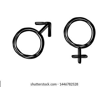 Hand drawn style of gender icon for man and woman