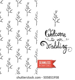 Hand drawn style greeting card for outdoor celebrations or wedding, inspired by eco forest symbolism. Seamless pattern with on one side. On another inscription: welcome to our wedding. Vector template