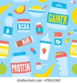 Hand drawn style sport food nutrition seamless vector pattern blue
