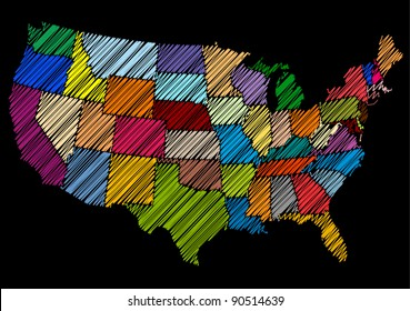 Hand Drawn Style USA Map Sketch (Vector)