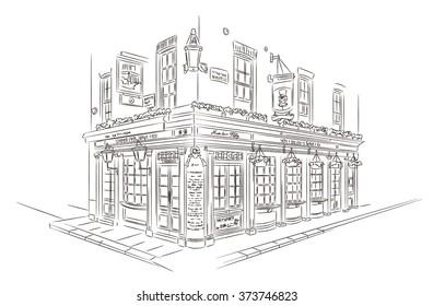 Hand Drawn Style Vector Sketch. Pub, London