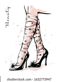 Hand drawn stylish female legs in shoes. Woman legs with spotted sheer tulle socks. Fashion sketch. Vector illustration.