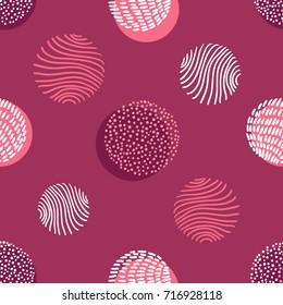 Hand drawn stylish modern wine color seamless abstract pattern, scandinavian design style. Vector illustration