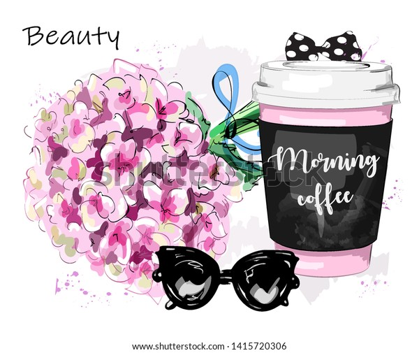 Hand drawn stylish set with flowers, coffee cup, sunglasses and bow. Sketch. Vector illustration.