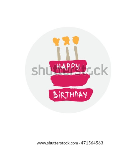 Hand Drawn Stylized Birthday Cake Bright Color Flat Style Vector Illustration Can Be