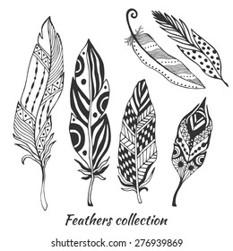 Hand drawn stylized feathers vector collection. Set of doodle tribal feathers. Cute zentangle feather for your design. Elements for greeting card and postcard, henna and tattoo design