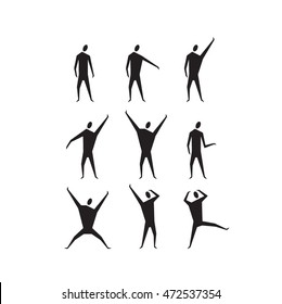 Hand drawn stylized stick figure black color. Flat people style vector illustration. (Can be used as texture for cards, invitations, DIY projects, web sites or for any other design.)