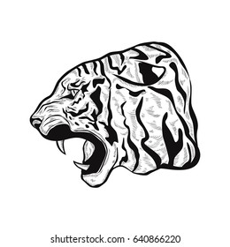 hand drawn stylized Tiger head anger. Black tattoo. Vector illustration of a tiger head. outline illustration