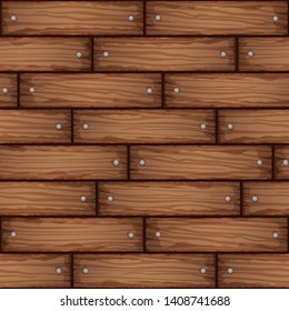 Hand drawn stylized wooden planks seamless pattern. Endless wood vector textures for floor, ground, walls, boxes, containers. Template design for game background.