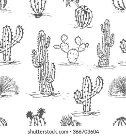 Hand drawn succulent ornament. Ink illustration. .Seamless pattern with cactus.. Vector illustration of a cactus isolated on a white background. Cute hand drawn vector cactus .