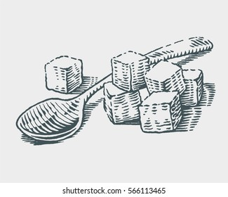 Hand drawn sugar cubes and spoon illustration in engraving style for menu or cafe