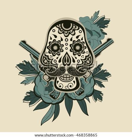 hand drawn sugar skull flowers guns stock vector royalty free