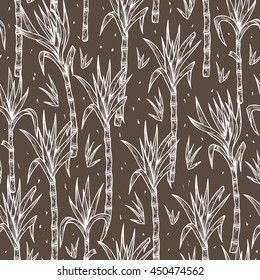 Hand Drawn Sugarcane Plants Vector Seamless Pattern. Sugar cane stalks with leaves endless background.