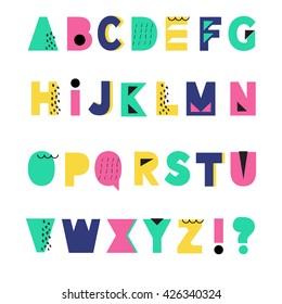 Hand Drawn summer alphabet. Creative geometric style. Vector illustration. 80s - 90s design.