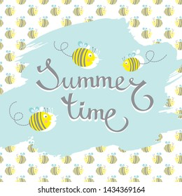 hand drawn summer brush lettering Summer Time on paint stroke, cute cartoon bees background and flying bees. Vector illustration