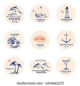 Hand drawn summer design element set. Navy blue and orange logo with dolphin, sunset, palms, anchor, shell, lighthouse, cocktail round and oval shape.