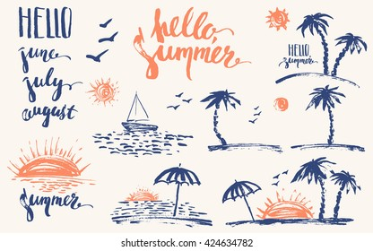 Hand drawn summer design elements in navy blue and orange. Rough prints, palm silhouettes, sun, sunset, ocean, sailboat, hello. Brush lettering, June, July, august.