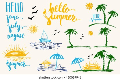 Hand drawn summer design elements in bright colors. Colorful prints, palm silhouettes, sun, sunset, ocean, sailboat, hello. Brush lettering, june, july, august.