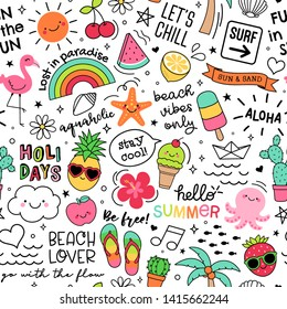 Hand drawn summer elements and quotes seamless pattern background.