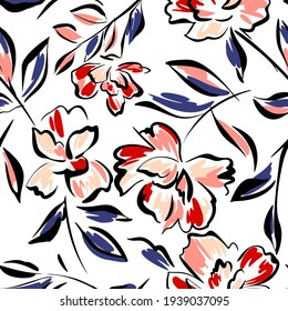 Hand drawn summer floral backround. Botanical seamless pattern made of abstract flowers. Sketch drawing. Vintage style. Goof for bedding, textile, fabric, wallpaper.