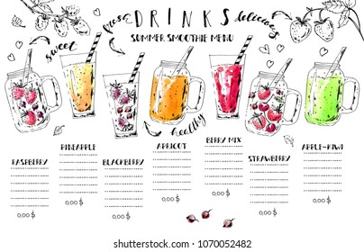Hand drawn summer fruit smoothie drinks menu. Ink and watercolor stain illustration. Colorful jurs and glasses with berries and lettering. Vector design template.
