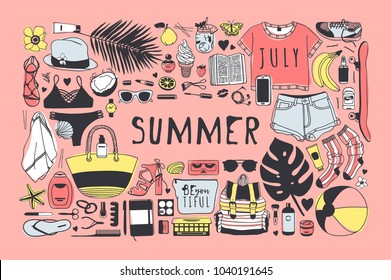 Hand drawn summer pattern. Pink tropical vector background. Artistic doddle drawing. Creative ink art work. Fashion illustration season objects